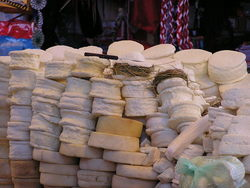 Cheese at a market in Ayacucho, Peru (Photo: Tomandbecky).