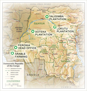 Map of the DRC showing Feronia plantations