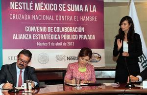 The government is partnering with Nestlé to send a small army of Mexican women out to promote nutri- tion – using Nestlé products, of course.